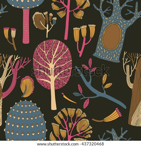 Seamless pattern with forest trees background for web and graphic design, textile - stock vector