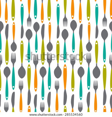 Seamless Pattern with Forks, Spoons end Knifes. Vector Illustration. EPS10 - stock vector