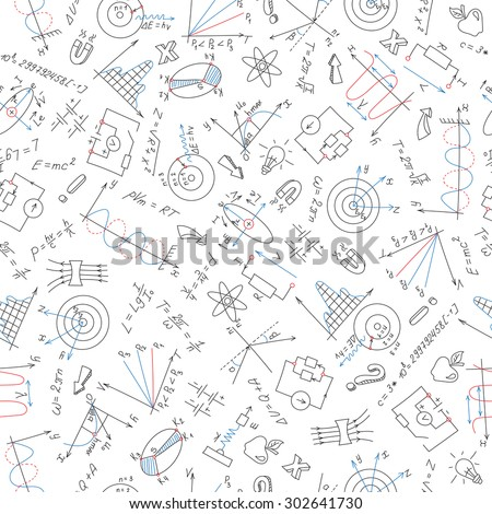 Seamless pattern with formulas,graphs, and equipment as the subject of physics with colored markers on white background  - stock vector