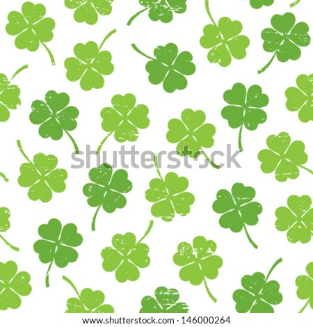 Seamless pattern with four leaf clover - stock vector