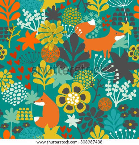 Seamless pattern with fox in the flowers of the forest. Vector repeated background. - stock vector