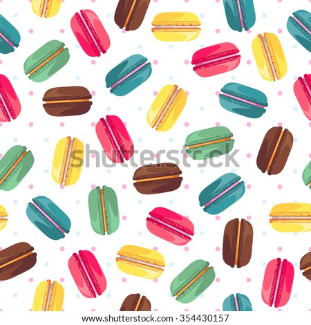 Seamless pattern with french sweet macaroons. Cute donuts isolated on white background. Delicious desserts. Fresh bakery. Can be used in food industry for wallpapers, posters, wrapping paper. Vector