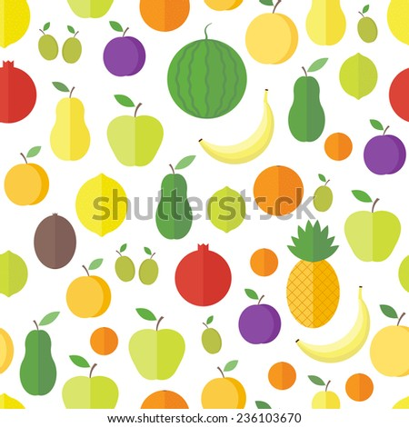 Seamless pattern with fresh fruits and berries on a white background in flat. Vector background