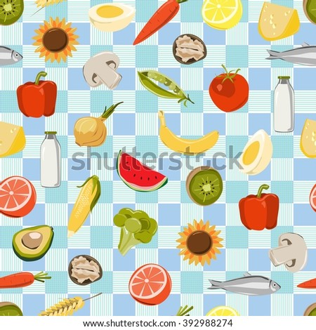 Seamless pattern with fresh fruits, vegetables, market food.