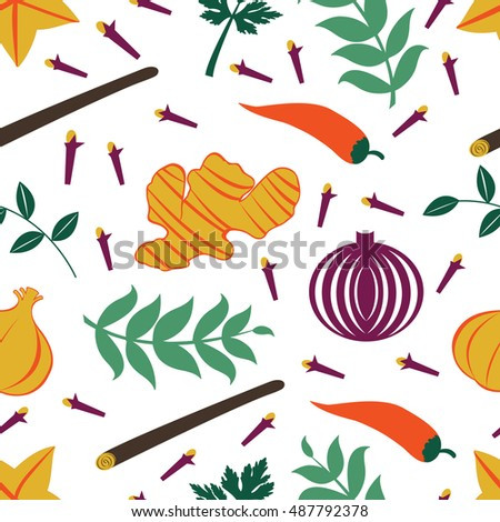 Seamless pattern with fresh vegetables and spices