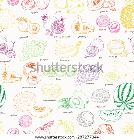Seamless pattern with fruit on a white background. Vector illustration for your design - stock vector