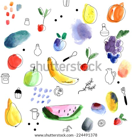 Seamless pattern with fruits, berries on a white background. Watercolor art. Freehand creative illustration. - stock vector