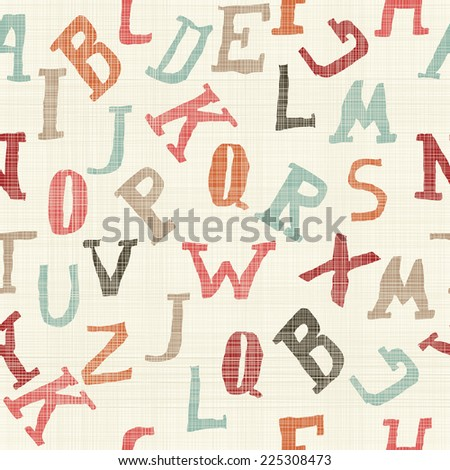seamless pattern with funky doodle alphabet