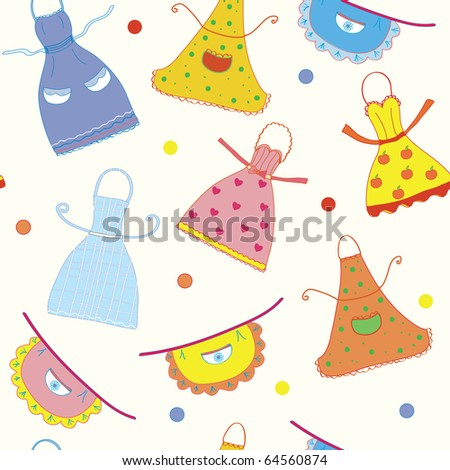 Seamless pattern with funny aprons set - stock vector