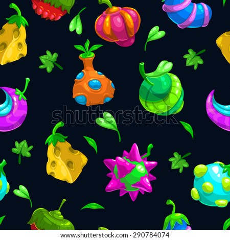 Seamless pattern with funny bizzare fruits, colorful vector illustration - stock vector