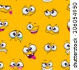 Seamless pattern with funny cartoon faces on yellow background - stock vector