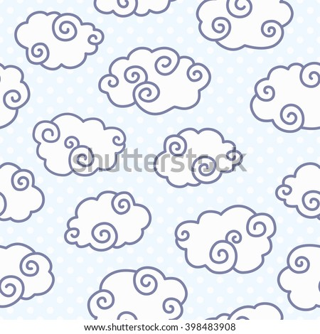 Seamless pattern with funny curl clouds on dotted light blue background. Vector illustration - stock vector