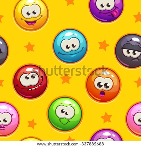 Seamless pattern with funny emoticon faces on yellow background, square endless texture tile - stock vector