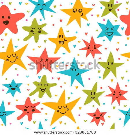 Seamless pattern with funny little stars. Stylish background with hand drawn stars. Vector illustration