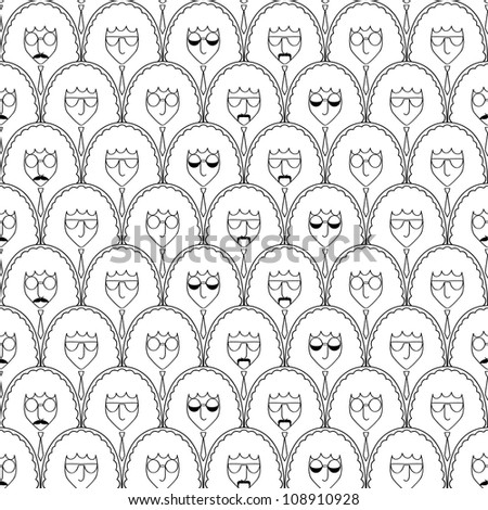 Seamless pattern with funny people faces. - stock vector
