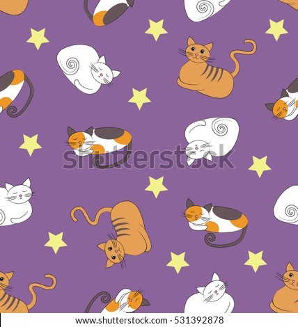 Seamless pattern with funny sleeping cats and stars on the violet background