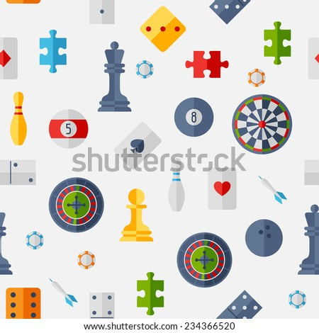 Seamless pattern with game icons in flat design style. - stock vector