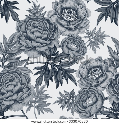 Seamless Pattern With Garden Peony Flowers Illustration Victorian Style Vector Designed For Paper