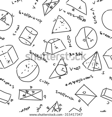 seamless pattern with geometrical formulas on a white sheet