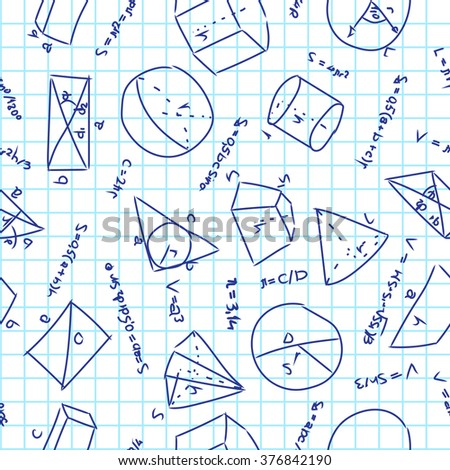 seamless pattern with geometrical formulas on school notebook