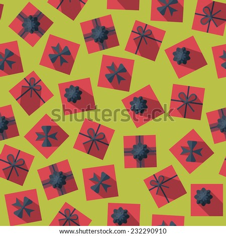 Seamless pattern with gift boxes in the flat style. Gift box top view - stock vector