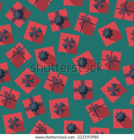 Seamless pattern with gift boxes in the flat style. Gift box top view. Different gift boxes with  bows - stock vector