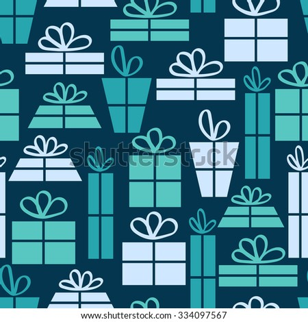 Seamless pattern with gifts on a blue background. Vector illustration