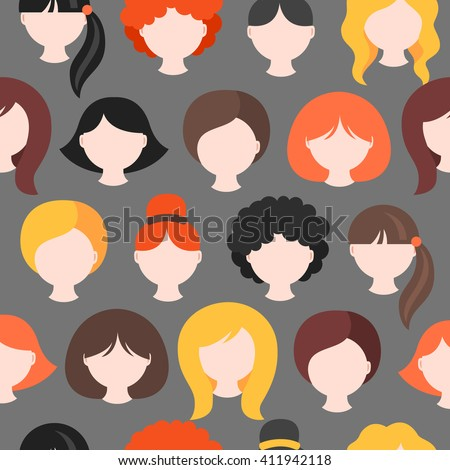 Seamless pattern with girl's heads. Short, medium, long hair. Redhead, blonde, brunette. Curly, wavy and straight hair. Perfect for wallpaper, web page background, avatars, icons, beauty salon prints  - stock vector