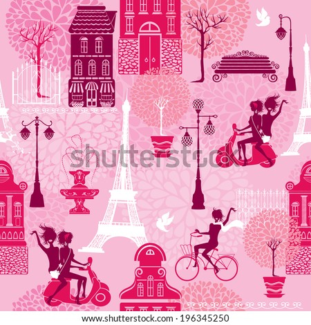 Seamless pattern with girls riding on scooter and bicycle, houses silhouettes and town landscape with Effel Tower on a pink floral background.  Ready to use as swatch