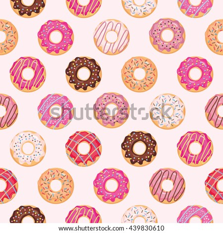Seamless pattern with glazed donuts. Pink colors. Girly. - stock vector