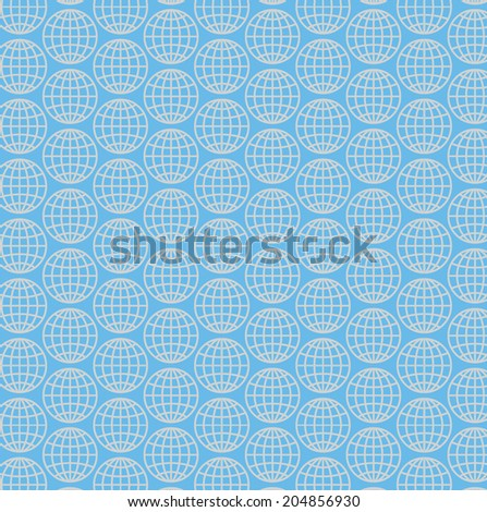 seamless pattern with globe graphic - stock vector