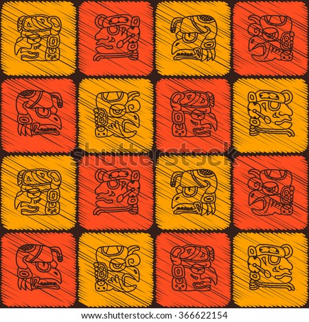 Seamless pattern with glyphs of the Maya periods calendar names for your design - stock vector