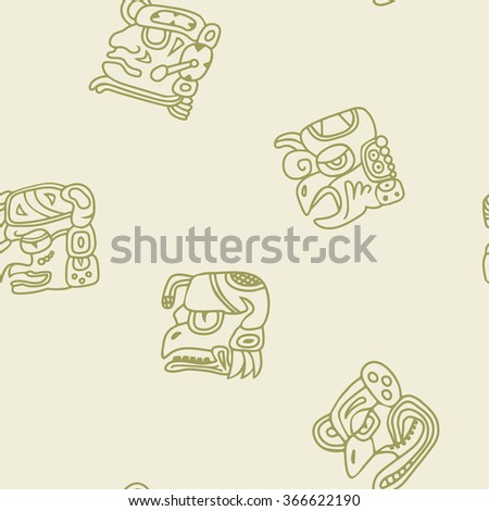 Seamless pattern with glyphs of the Maya periods calendar names for your design