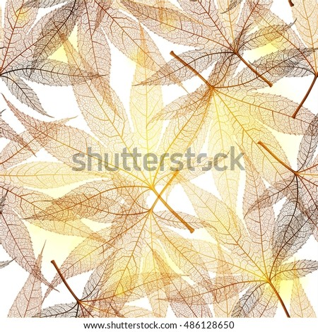 Seamless pattern with gold leaf, autumn leaves background. Vector illustration.