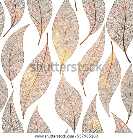 Seamless pattern with gold leaf, autumn leaves background. Vector illustration