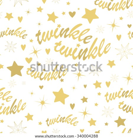 Seamless pattern with gold stars and twinkle twinkle lettering. Hand drawn Lullaby Baby shower design. - stock vector