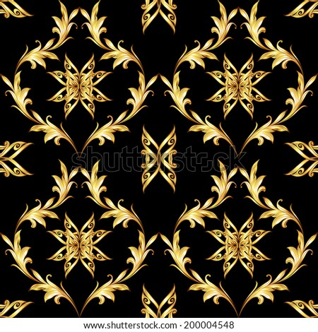 Seamless pattern with golden floral elements on black background - stock vector