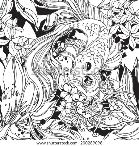 Seamless pattern with goldfish black and white - stock vector