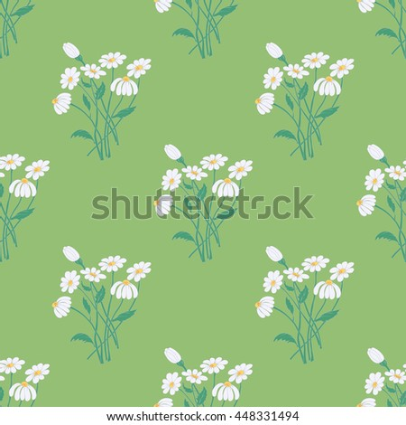Seamless Pattern with Graceful Chamomile Bouquets on the Soothing Green Background. Vector EPS10.  - stock vector
