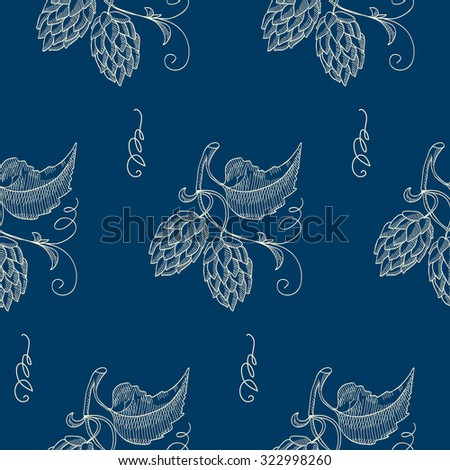 seamless pattern with grapes on the blue background. Sketch. Hand drawing. Design concept. Vector Illustration, eps10, contains transparencies. - stock vector