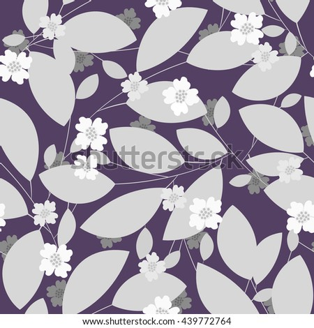 Seamless pattern with gray leaves and flowers on dark lilac background - stock vector
