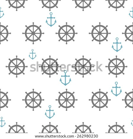 Seamless pattern with gray rudders and blue anchors. Nautical theme. Vector illustration - stock vector