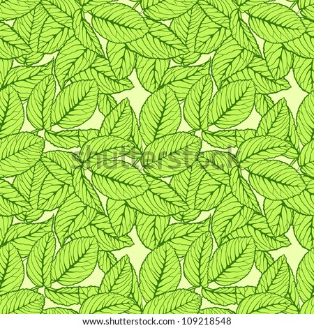 Seamless pattern with green leafs - stock vector