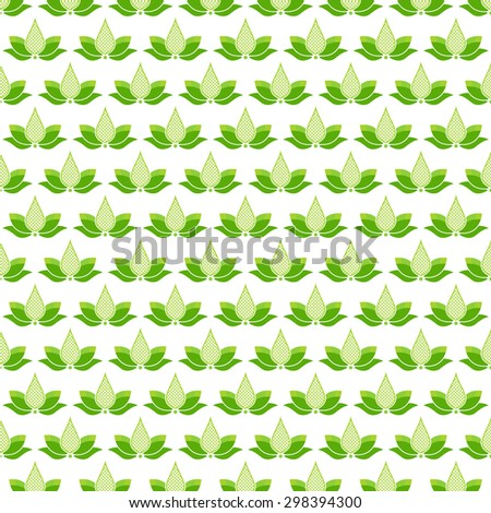 Seamless pattern with green lotus flowers on white background - stock vector
