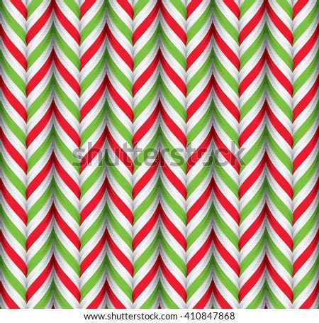 Seamless Pattern with Green Red and White Candy Cane Stripes. Xmas Texture with Candy Canes Background. Festive Vector Illustration. - stock vector