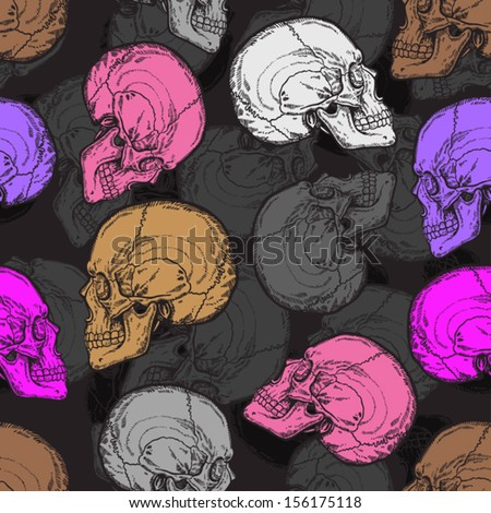 seamless pattern with grey, pink, white and brown skulls - stock vector