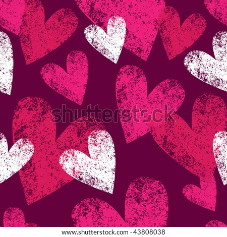seamless pattern with grunge hearts - stock vector