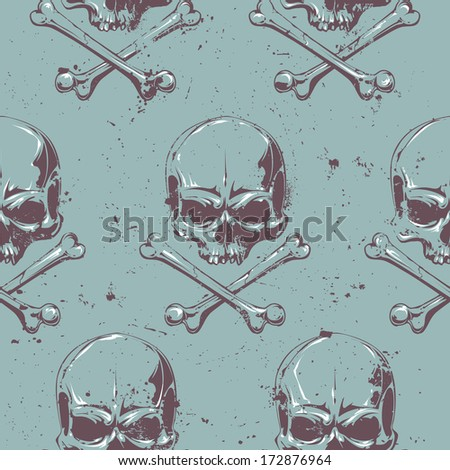 Seamless pattern with grunge skulls. Vector illustration. - stock vector