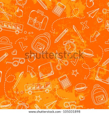seamless pattern with grungy texture and school doodles (JPEG version available in my gallery) - stock vector