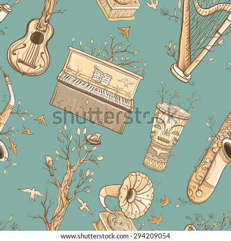 Seamless pattern with guitar, harp, saxophone, piano, djembe drum, gramophone, plants and birds. Illustration of live music. Music of nature. eps 10 - stock vector